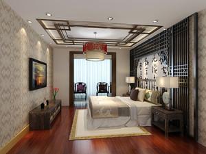 30平米现代中式风格卧室吊顶装修效果图