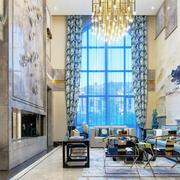 新中式风格别墅室内豪华客厅装修效果图赏析