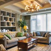 简欧风格三居室室内客厅窗帘装修效果图