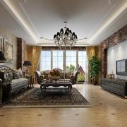 豪华欧式风格三居室客厅吊灯效果图赏析