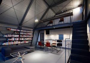 后现代风格loft客厅设计装修效果图