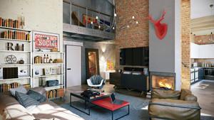 现代loft风格小复式楼室内装修效果图赏析