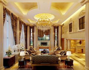 富丽堂皇欧式风格别墅客厅吊灯设计装修效果图