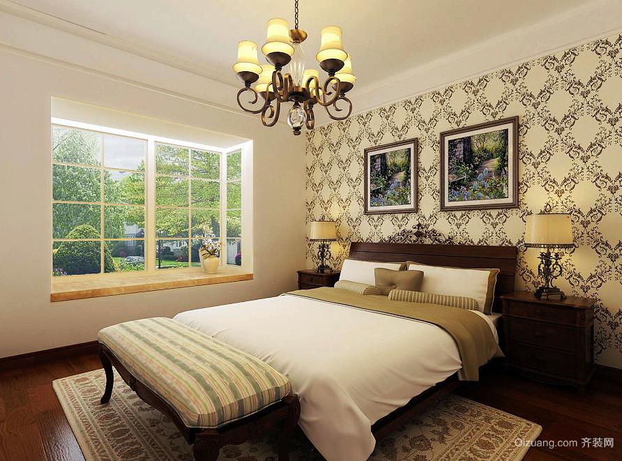 28平米古典美式风格卧室飘窗装修效果图