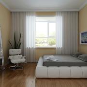 现代简约风格一居室卧室窗帘效果图鉴赏