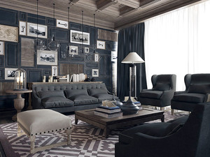 时尚新古典混搭风格别墅室内装修效果图