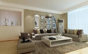 90平米现代简约风格客厅照片墙设计效果图