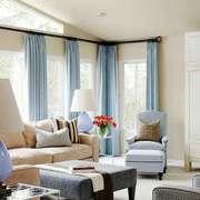 现代简约美式风格大户型客厅窗帘设计装修效果图