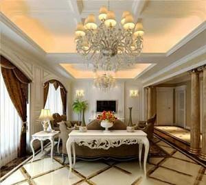 欧式风格大户型客厅吊灯设计装修效果图