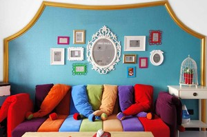 缤纷色彩时尚混搭风格三室两厅室内装修效果图