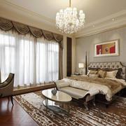 28平米现代欧式风格卧室窗帘设计效果图