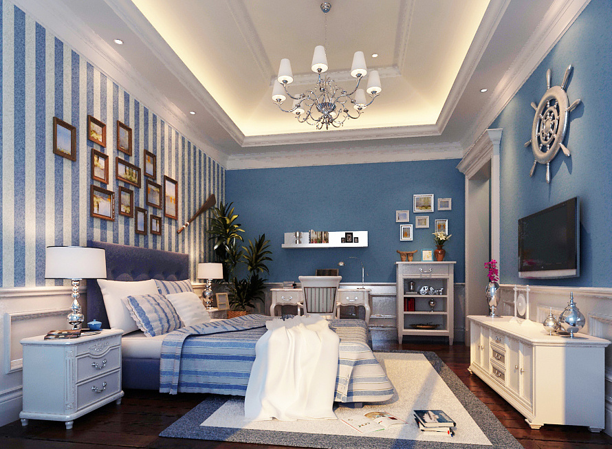 25平米地中海风格卧室背景墙装修效果图鉴赏