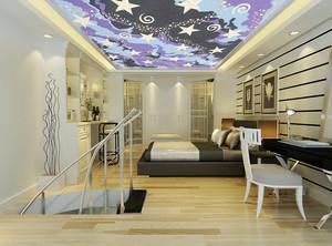 现代简约风格复式楼卧室吊顶装修效果图鉴赏