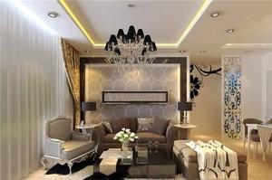 简欧风格三居室室内客厅沙发背景墙装修效果图