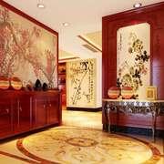 中式风格大户型进门玄关隔断设计装修效果图