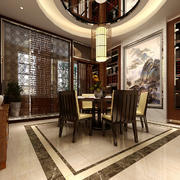 中式风格大户型餐厅背景墙装修效果图