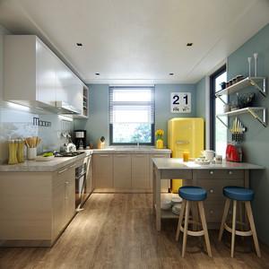 47平米现代简约风格开放式厨房吧台装修效果图
