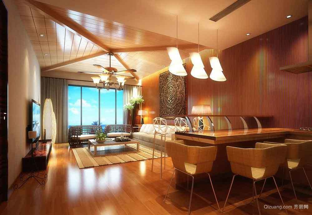 东南亚风格三居室室内客厅吊顶设计装修效果图