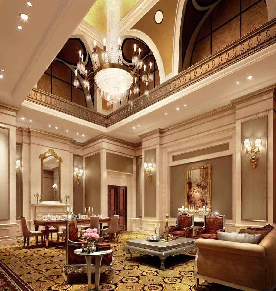 300平米奢华法式风格别墅室内客厅吊灯设计装修效果图