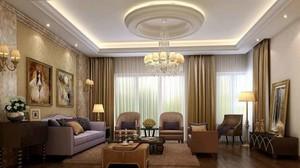 简欧风格大户型室内客厅圆形吊顶设计装修效果图