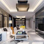 现代中式风格二居室客厅吸顶灯装修效果图