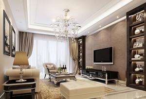 欧式风格三居室客厅吊灯装修效果图鉴赏