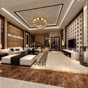 精致典雅现代风格别墅客厅吊顶装修效果图