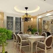 欧式风格奢华精致餐厅背景墙装修效果图