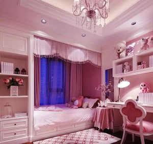 欧式风格浅粉色儿童房设计装修效果图