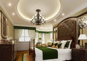 欧式风格大户型室内卧室背景墙装修效果图