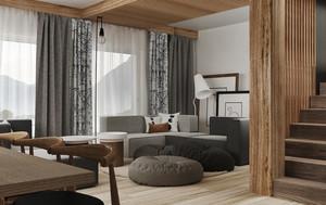 日式原木风格小复式楼室内装修效果图鉴赏