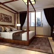 中式风格三居室卧室窗帘设计效果图鉴赏