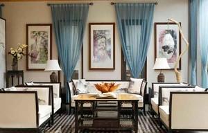 30平米中式风格会客厅设计装修效果图