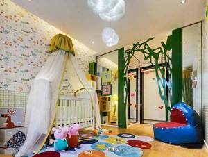现代简约风格时尚创意儿童房壁纸装修效果图