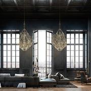 155平米现代工业loft风格黑色客厅装修效果图