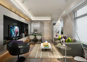 70平米现代简约风格客厅吊顶装修效果图