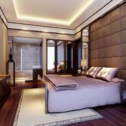 现代中式风格三居室卧室背景墙装修效果图