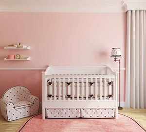 简欧风格大户型室内浅粉色婴儿房设计装修效果图