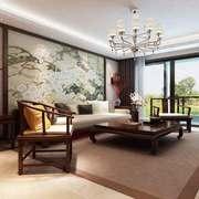 中式风格两居室客厅装饰画装修效果图