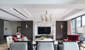 现代美式风格三室两厅室内装修案例效果图
