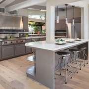 后现代风格大户型室内开放式厨房吧台设计装修效果图