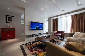 120平米时尚混搭风格复式楼室内装修效果图案例