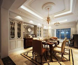 经典欧式风格别墅室内餐厅背景墙装修效果图