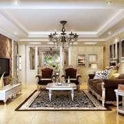 欧式风格大户型室内客厅电视背景墙装修效果图赏析