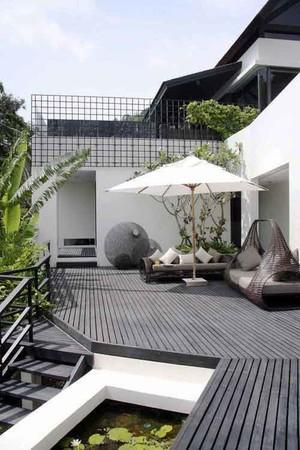 后现代风格别墅阳台花园设计装修效果图