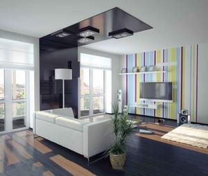 现代简约风格小户型客厅电视背景墙装修效果图