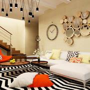 现代简约风格小复式楼室内客厅照片墙效果图