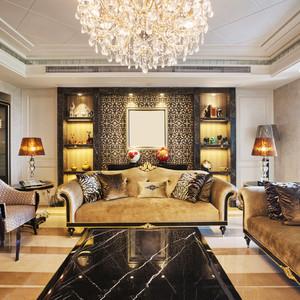 奢华欧式风格别墅室内客厅沙发背景墙效果图
