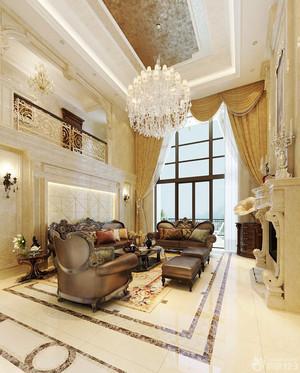 欧式风格别墅室内客厅吊灯设计装修效果图