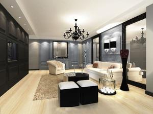 简欧风格大户型室内客厅电视背景墙装修效果图赏析